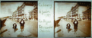 Plaque-stereoscopique-photographie-Calvados-Cabourg-la-digue-juin-1927-plage