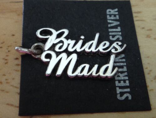 Sterling Silver 20x11mm Wedding says Bride/'s Maid Bridesmaid Charm