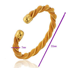 9K Real Solid Gold Filled Women Twisted Mesh Bangle charms bracelet 55mm