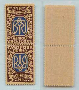 Ukraine-1948-3-00-mint-teche-beche-pair-Displ-Persons-Camp-Tabor-Poshta-f7985