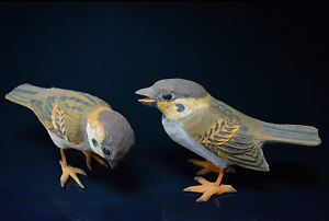 Japanese-Vintage-Ueno-Gyokusui-Wood-Carving-Sparrow-Pair-Sculpture