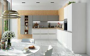 Schüller Küche Pura in kristallweiß/steingrau matt | eBay