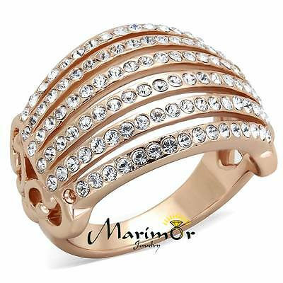 ROSE GOLD PLATED STAINLESS STEEL 316L CRYSTAL COCKTAIL / FASHION RING SIZE 5-1 0