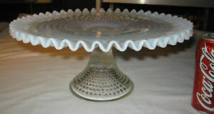 Image is loading LARGE-ANTIQUE-VINTAGE-FENTON-WHITE-OPALESCENT-FRENCH-CAKE- : pedestal plate stand - Pezcame.Com