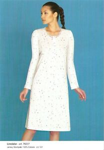 Camicia-da-Notte-Donna-100-Cotone-Manica-Lunga-Linclalor-TG-46-48-50-52-54-56