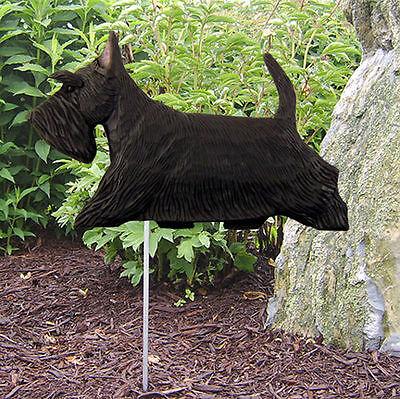 Scottish Terrier Outdoor Garden Dog Sign Hand Painted Figure Black