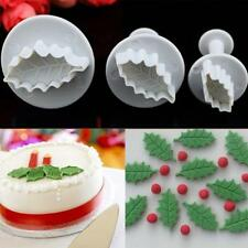 3pcs Fondant Cake Decorating Holly Leaf Mold Plunger Cutter Mould
