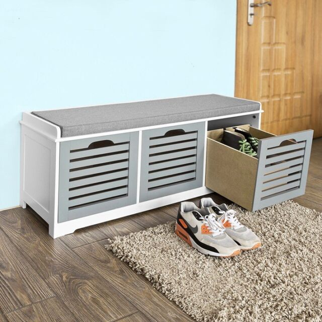 SoBuy® Storage Bench With 3 Drawers Shoe Cabinet With Seat Cushion, FSR23 HG