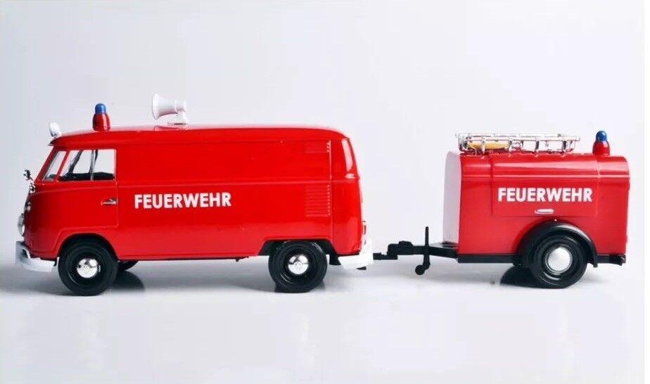 G G G LGB 1 24 Escala VW T1 Type 2 Rojo Fuego Furgoneta Feuerwehr Modelo Fundido 875742