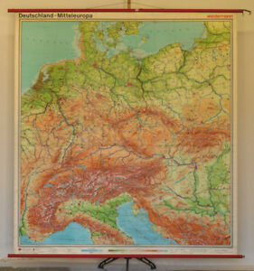 Map Of Germany 1980.Details About Wall Map Germany Central Europe 80 11 16x87 3 8in 1980 North Sea Baltic Alps