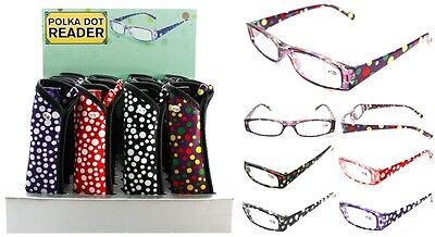 Ladies Polka Dot  Fashion Reader Reading Glasses with Matching Case + FREE GIFT!