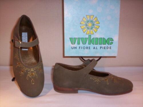 Scarpe ballerine Viviane bimba bambina shoes basse casual pelle cuoio verdi n 29