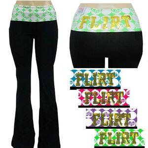 Grip-Ladies-Lycra-Cotton-Solid-Yoga-Pants-w-Fold-Over-Waistband-amp-Flirt-Sequins