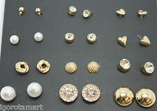 Very Good 12 Pcs Heart Round Square Ball Crystal Plain Ear Stud Studs Earrings