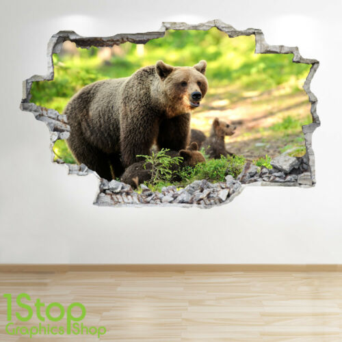 GRIZZLY BEAR WALL STICKER 3D LOOK BEDROOM LOUNGE NATURE ANIMAL WALL DECAL Z817