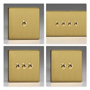 Varilight Screwless Brushed Brass Toggle Dolly Light Switch Range 1 2 3 4 Gang Ebay