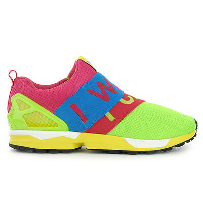 "Adidas Men's ZX Flux Slip-On Solar Green/Blue ""I WANT – I CAN"" Shoes B34451 NEW!"