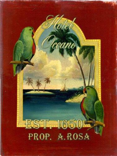 Hotel Oceano Birds Beach Paradise Oasis Island Tropical Metal Sign