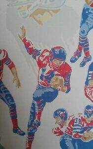 Details About Vtg 1950 S Football Wallpaper Nos Large Roll Plus Pieces Bright Colors On White