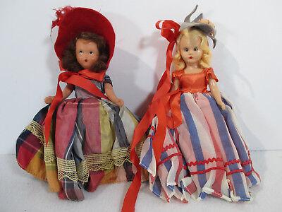 Dolls Nancy Ann Storybook Fourth of July #193 Country Girl Red Hat Vtg Set of 2