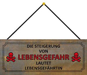 Risk of Death = Lebensgefährtin Shield with Cord Tin Sign 10 X 27 CM K0077-K