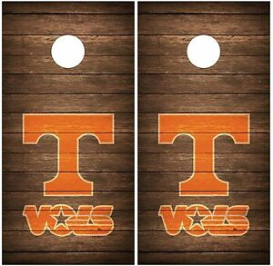 Tennessee-Vols-Vintage-Wood-Cornhole-Board-Decal-Wrap-Wraps-brown