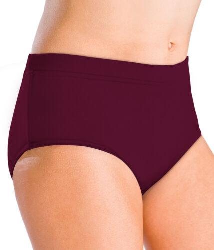 Danskin 2911 Maroon Burgundy Girls Size Large Heavy Weight Cheer Trunks Briefs