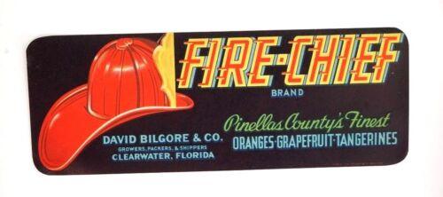 Vintage 1930s Bilgore Fire Chief Brand PINELLAS FL Citrus Crate Fruit Label