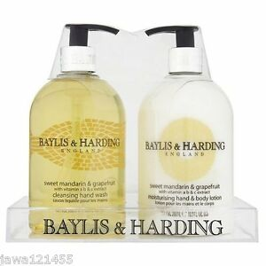 5-x-Baylis-amp-Harding-500ml-Sweet-Mandarin-Grapefruit-Hand-Wash-Hand-Body-Lotion