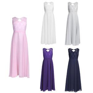 2c22a1fd59ef06 Das Bild wird geladen Blumenmaedchenkleid-Prinzessin-Chiffon-Kleid-Lang- Hochzeit-Brautjungfern-Kleider
