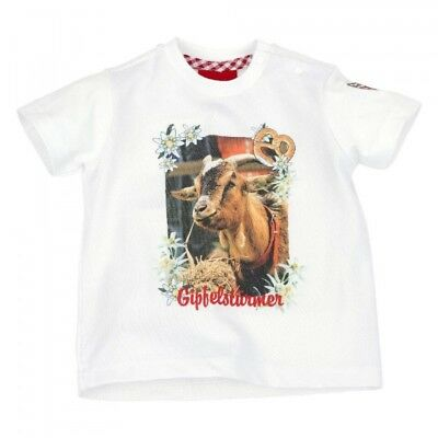 Aufstrebend Kidstracht Shirt Trachtenshirt T-shirt Weiß G. 62 - 116 Ziegenbock Z. Lederhose