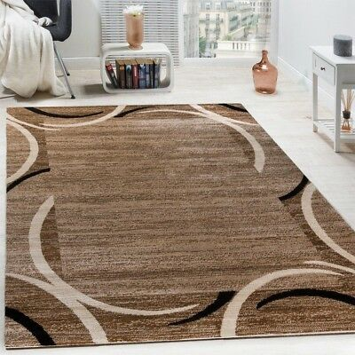 Beige Brown Carpet Designer Border Flecked Living Room Rug Modern Stylish Mats Ebay