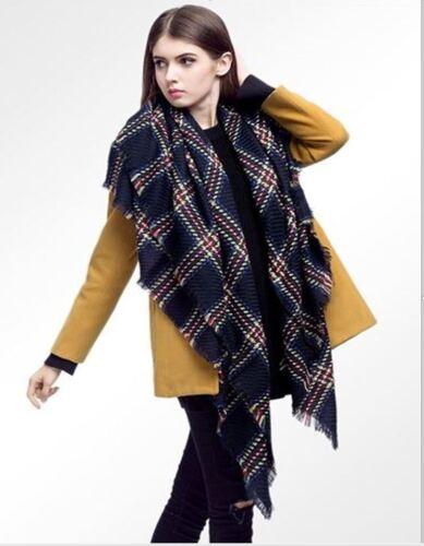 Womens Ladies New Italian Tartan Check Tassel Fringe Blanket Winter Wrap Shawl
