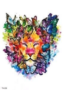 82ee0ad92 Rainbow Lion Temporary Tattoo A5 Body Art Adults Tattoos Rainbows ...