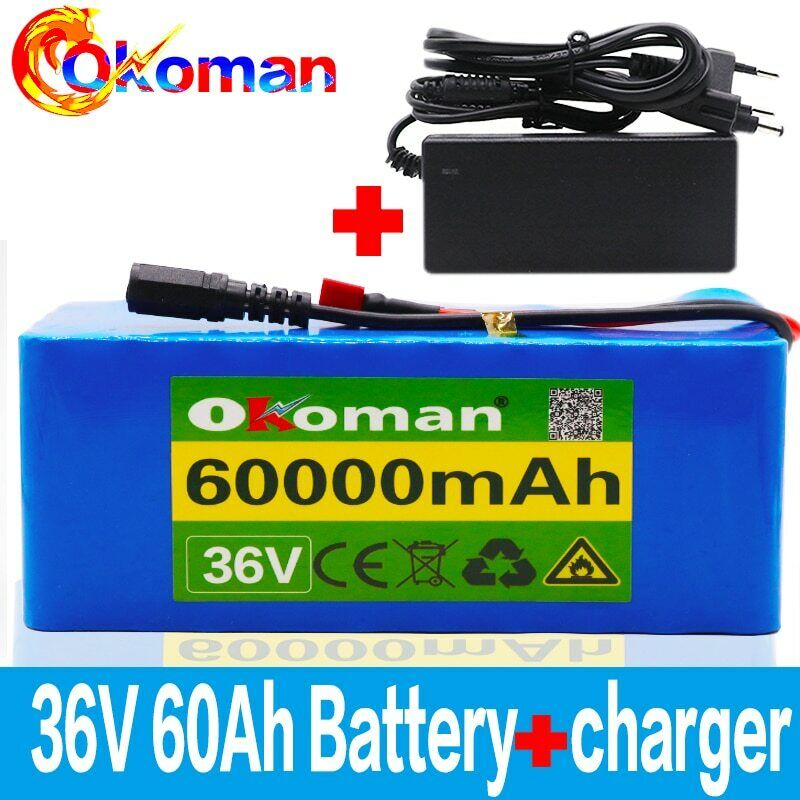 Details about Lithium 36V 60Ah Ebike Battery 500w For Pack High Power + Charger