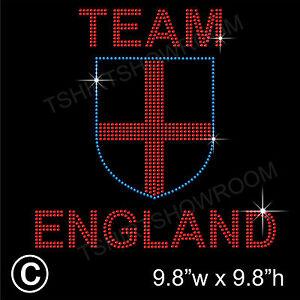 039-Team-ENGLAND-039-Rhinestone-Diamante-Transfer-Hotfix-Iron-on-Motif-with-free-Gift