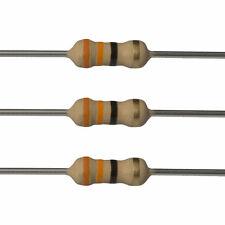 100 x 33 Ohm Carbon Film Resistors - 1/4 Watt - 5% - 33R - Fast USA Shipping
