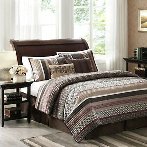 Red-Quilted-King-Coverlet-Set-5pc-Bedding-Sham-Pillows-Machine-Washable-Striped