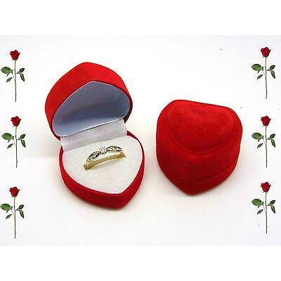 Small Luxury Red Velvet Heart Ring Box Jewellery Presentation Valentines Love