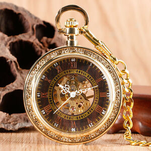 Retro-Roman-Numbers-Gold-Open-Face-Mechanical-Hand-Winding-Pocket-Watch-Chain