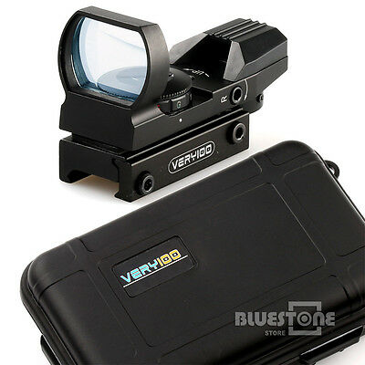 Holographic 4 Reticle Red/Green Dot Tactical Reflex Sight Scope w/ VERY100 Case