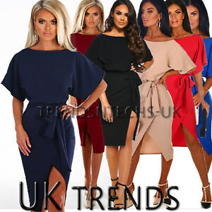 UK-Womens-Batwing-Belted-Split-Evening-Party-Business-Ladies-Midi-Dress-6-16