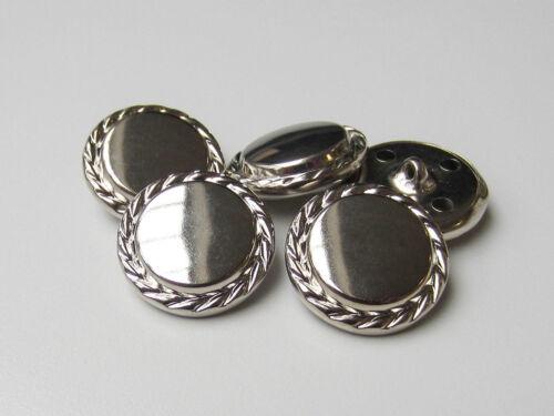 5240si-23mm 5 Noble Argent Brillant métal tôle boutons avec gekördeltem rand