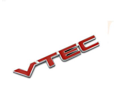 Red VTEC Logo Car Letter Sticker Metal Auto Fender Decal Chrome Emblem For Honda