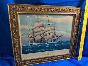 Antique-Wood-Gold-Gilt-Picture-Frame-Edward-Gross-Print-1858-Ship-Star-of-Peace