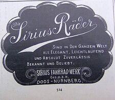 SIRIUS RÄDER SIRIUS Fahrad-Werk GmbH DOOS-NÜRNBERG Originalreklame von 1898