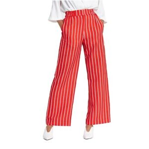 Ex River Island  Red Stripe Print Wide Leg Trousers