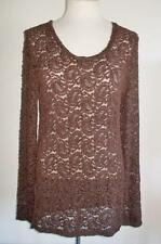 BKE BUCKLE MS SIZE LARGE MOCHA BROWN LONG SLEEVE LACE SCOOP NECK TOP / SHIRT