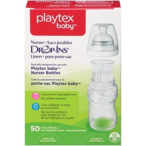 2 Pack Playtex Drop in Liners for Nurser Bottles 4 oz 50 Count Each