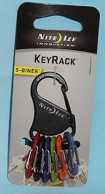 KEY RACK CARABINER KEYCHAIN KEY RING CLIP and 6 PLASTIC S BINER CLIPS NITE IZE